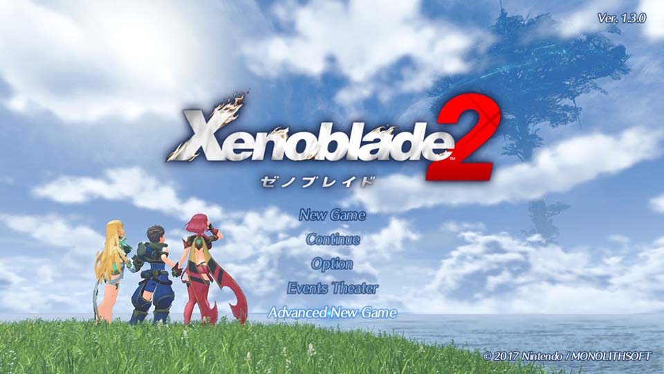 ゼノブレイド2、アドバンスドニューゲームモードのタイトル画面