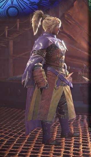 カラーを紫色に変更したギルドクロスβ装備