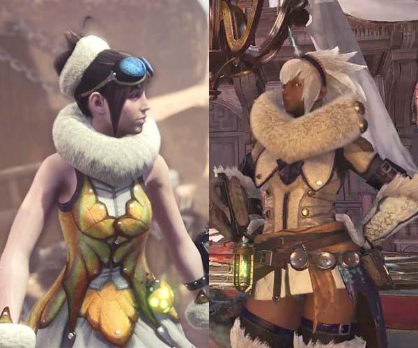 蜜虫テイルスカートとウルムー装備の首巻きの比較