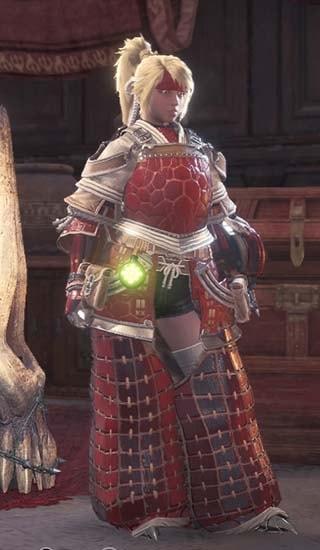 暁ノ武士装備のカラーを赤に変更した画像