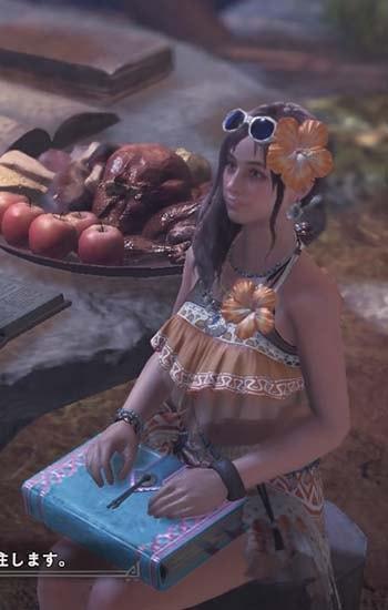 太陽のパレオを着た受付嬢の髪型がかわいい
