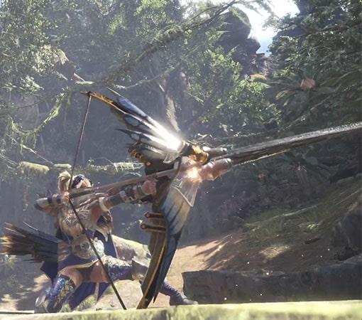 見た目装備で弓を構えるポーズ画像