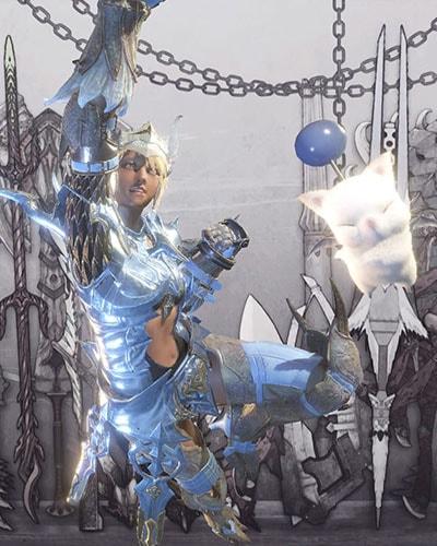 作成した竜騎士っぽい装備でポーズ