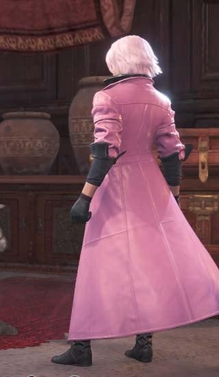 ピンク色にカラー変更したダンテ重ね着の見た目