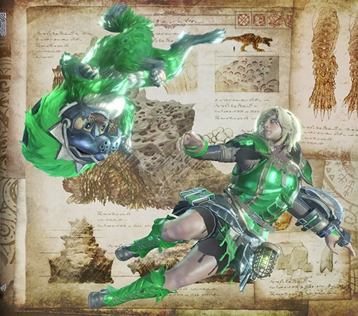 緑いろに変更した見た目装備でオトモと