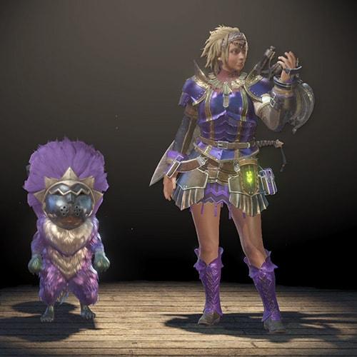 カラーを紫に変更して、オトモと一緒の画像