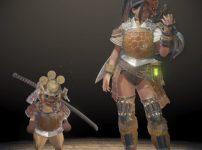 暁の武士装備とオリジン重ね着の組み合わせ