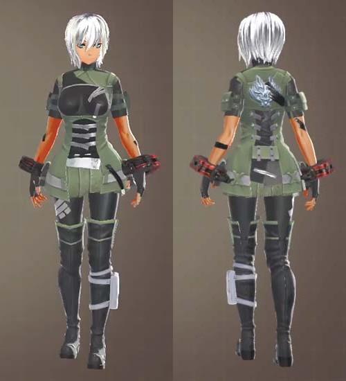 F制式士官服・緑とF制式兵装・緑【軽装】の組み合わせ